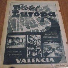 Catálogos publicitarios - HOJA DE DIARIO 1957 - HOTEL EUROPA VALENCIA - 54082219