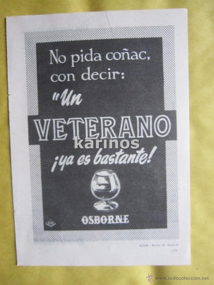 1967 PUBLICIDAD COÑAC VETERANO OSBORNE -NA- (Coleccionismo - Catálogos Publicitarios)