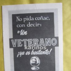 Catálogos publicitarios: 1967 PUBLICIDAD COÑAC VETERANO OSBORNE -NA-. Lote 54341024