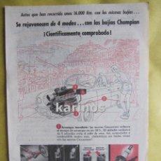 Catálogos publicitarios: 1957 PUBLICIDAD BUJIAS CHAMPION -NA-5. Lote 54347999