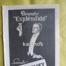 Catálogos publicitarios: 1957 PUBLICIDAD BRANDY ESPLENDIDO GARVEY -NA-. Lote 54353939