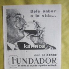Catálogos publicitarios: 1957 PUBLICIDAD COÑAC FUNDADOR -NA-5. Lote 54354282