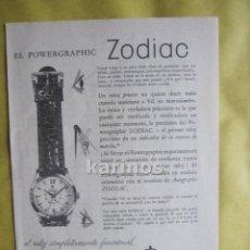 Catálogos publicitarios: 1957 PUBLICIDAD RELOJ ZODIAC -NA-5. Lote 54354400