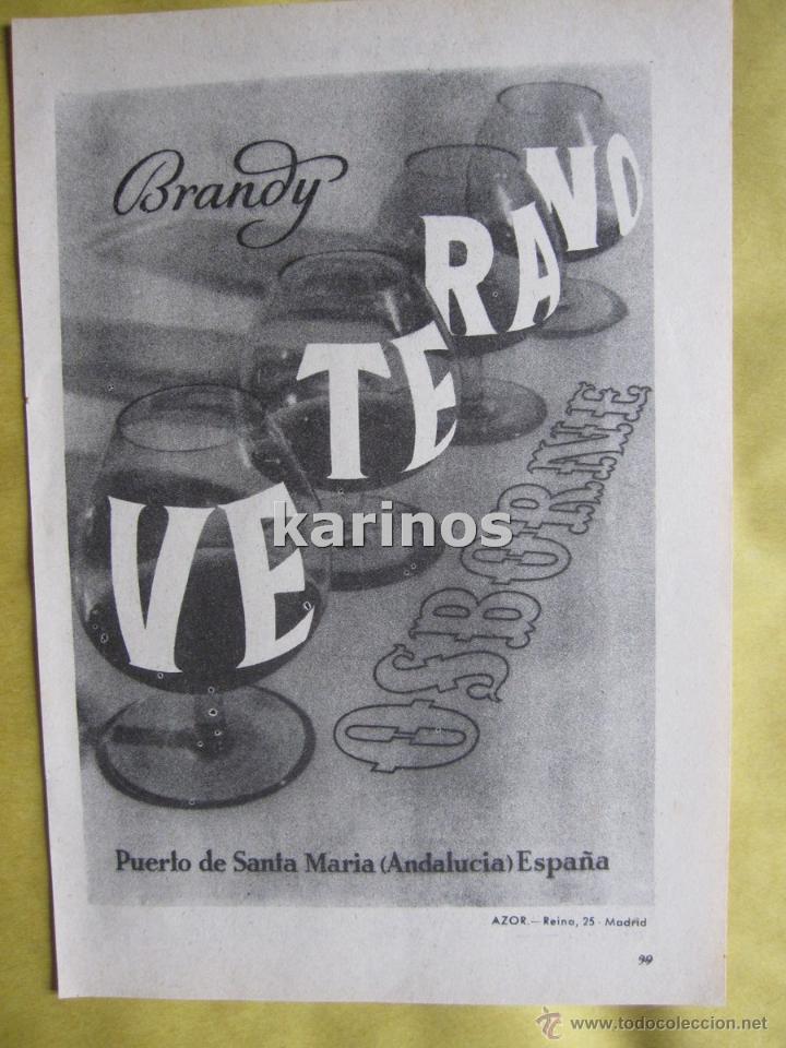 1957 PUBLICIDAD BRANDY VETERANO OSBORNE -NA- (Coleccionismo - Catálogos Publicitarios)