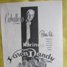 Catálogos publicitarios: 1957 PUBLICIDAD COLONIA VARON DANDY -NA-. Lote 54359838