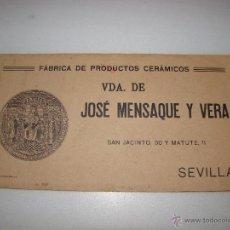 Catálogos publicitarios: CATALOGO DE MOSAICOS - FABRICA DE PRODUCTOS CERÁMICOS VIUDA DE JOSÉ MENSAQUE Y VERA - SEVILLA. Lote 54434352