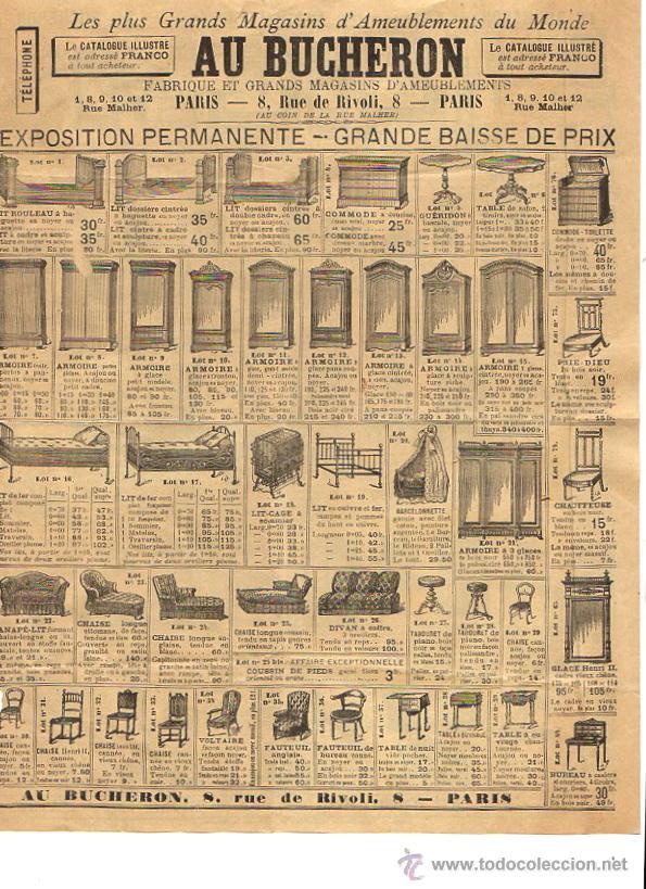 HOJA PUBLICITARIA AMEUBLEMENTS AU BUCHERON. PARIS. CIRCA 1900 (Coleccionismo - Catálogos Publicitarios)