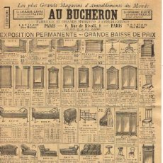 Catálogos publicitarios: HOJA PUBLICITARIA AMEUBLEMENTS AU BUCHERON. PARIS. CIRCA 1900. Lote 54637743