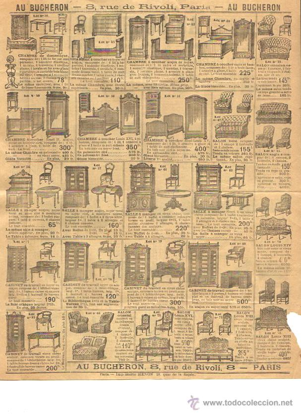 Catálogos publicitarios: HOJA PUBLICITARIA AMEUBLEMENTS AU BUCHERON. PARIS. CIRCA 1900 - Foto 2 - 54637743