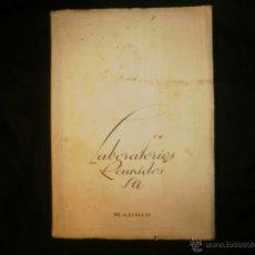 Catálogos publicitarios: CATALOGO LABORATORIOS REUNIDOS S.A.20 AÑOS AL SERVICIO DE LA VETERINARIA.AÑOS 50. Lote 54953404