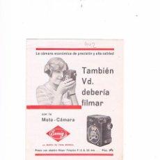 Catálogos publicitarios: FOLLETO PUBLICITARIO MOTO-CÁMARA EUMIG ANTIGUO. Lote 54989301