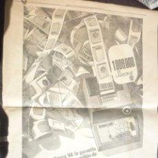 Catálogos publicitarios: HOJA PUBLICIDAD 1.000.000 DE LAVADORAS BRU. AÑO 1968. GRANDES DIMENSIONES. 42 X 55 CM. Lote 55147735