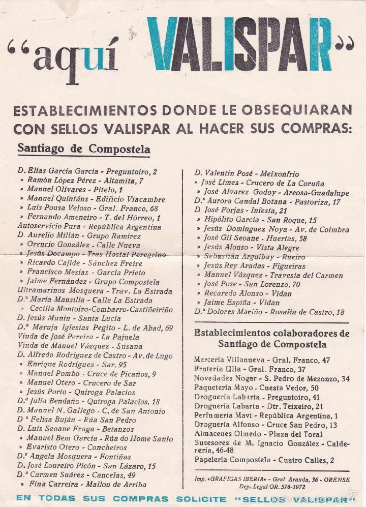 AQUI VALISPAR. ESTABLECIMIENTOS DONDE LE OBSEQUIARAN CON SELLOS AL HACER SUS COMPRAS (SANTIAGO) (Coleccionismo - Catálogos Publicitarios)