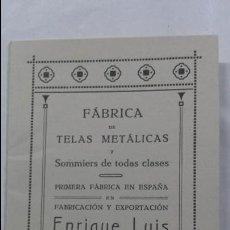 Catálogos publicitarios: ANTIGUA PUBLICIDAD CATALOGO TARIFA DE PRECIOS CAMAS SOMIERES VALENCIA . Lote 55509737
