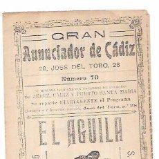 Catálogos publicitarios: PUBLICIDAD. TRIPTICO PUBLICITARIO. GRAN ANUNCIADOR DE CADIZ Nº7. CERVEZA Y MAS. AÑOS 10. Lote 56199600