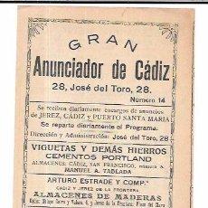 Catálogos publicitarios: PUBLICIDAD. TRIPTICO PUBLICITARIO. GRAN ANUNCIADOR DE CADIZ Nº14. VINOS, TEATRO... AÑOS 10. Lote 56199696