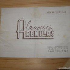 Catálogos publicitarios: CATÁLOGO DE PRECIOS ALMACENES ARENILLAS, BARCELONA, AÑO 1944.. Lote 56223278