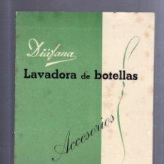 Catálogos publicitarios: CATALOGO PUBLICITARIO. DIAFANA. LAVADORA DE BOTELLAS. ACCESORIOS. FRANCISCO CALZADA. BARCELONA. Lote 56225005