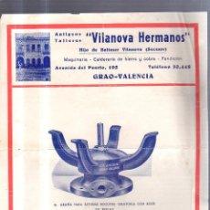 Catálogos publicitarios: CATALOGO PUBLICITARIO. VILANOVA HERMANOS. MAQUINARIA - CALDERERIA. GRAO, VALENCIA. 22 X 28CM. Lote 56225394