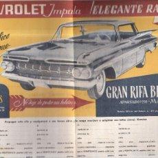 Catálogos publicitarios: CHEVROLET IMPALA. RIFA BENEFICA. MARID. 1960. VER. 34 X 24CM. Lote 56226029