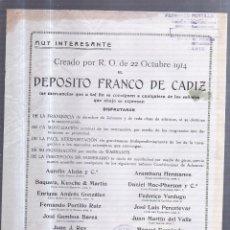 Catálogos publicitarios: CATALOGO PUBLICITARIO. DEPOSITO FRANCO DE CADIZ. 1914. FERNANDO PORTILLO. CADIZ. 21 X 27CM. Lote 56226748