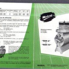 Catálogos publicitarios: CATALOGO PUBLICITARIO. MABEAL. MAQUINA LAVADORA DE BOTELLAS. RBM 6 Y RBM 10. MADRID. 30 X 20CM. Lote 56227486