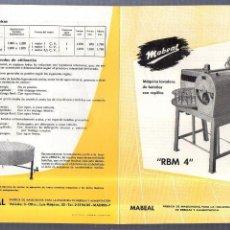 Catálogos publicitarios: CATALOGO PUBLICITARIO. MABEAL. LAVADORA DE BOTELLAS. RBM 4. MADRID. 30 X 20CM. Lote 56227562