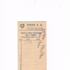 Catálogos publicitarios: PUBLICIDAD CARPINTERÍA MADERAS FIDUS, S.A. ANTIGUO COTIZACIÓN DE TABLEROS CARPINTERO MADERA. Lote 56878666
