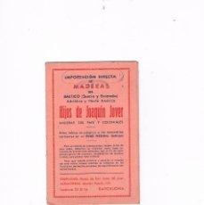 Catálogos publicitarios: PUBLICIDAD CARPINTERO IMPORTACIÓN DIRECTA DE MADERAS HIJOS DE JOAQUÍN JOVER TABLA DE EQUIVALENCIAS. Lote 56878774