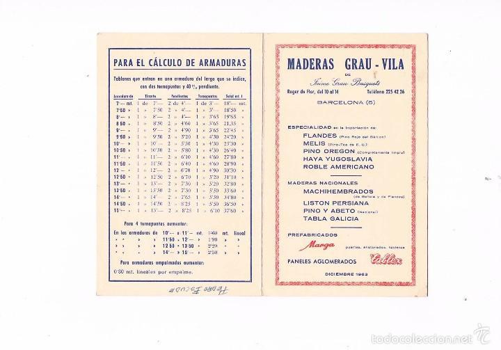 FOLLETO PUBLICIDAD MADERAS GRAU VILA 1963 CARPINTERÍA ANTIGUO TABLA DE PRECIOS MADERA CARPINTERO (Coleccionismo - Catálogos Publicitarios)