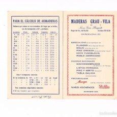 Catálogos publicitarios: FOLLETO PUBLICIDAD MADERAS GRAU VILA 1963 CARPINTERÍA ANTIGUO TABLA DE PRECIOS MADERA CARPINTERO. Lote 56878897