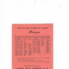 Catálogos publicitarios: FOLLETO PUBLICIDAD PRECIOS PUERTA MARGA CARPINTERÍA MADERAS VIUDA DE A. BARTOLI, S.A. CARPINTERO. Lote 56878965