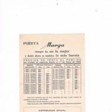 Catálogos publicitarios: FOLLETO PUBLICIDAD PRECIOS PUERTA MARGA 1960 CARPINTERÍA MADERAS VIUDA DE A. BARTOLI CARPINTERO. Lote 56879001