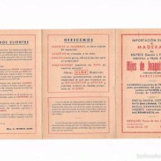 Catálogos publicitarios: FOLLETO PUBLICIDAD MADERAS HIJOS DE JOAQUIN JOVER CARPINTERIA TABLA EQUIVALENCIAS MADERA CARPINTERO. Lote 56879105