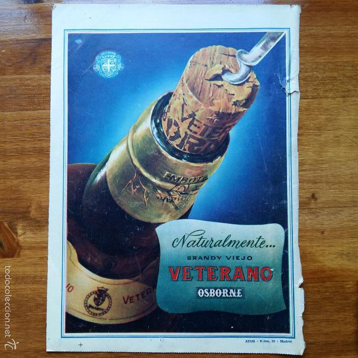 RECORTE ANTIGUA PUBLICIDAD, AÑOS 50. BRANDY VIEJO VETERANO, OSBORNE (Coleccionismo - Catálogos Publicitarios)