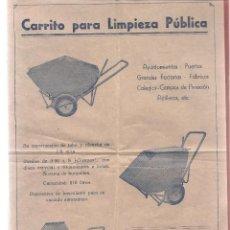 Catálogos publicitarios: CARTEL PUBLICIDAD CARRITO PARA LIMPIEZA PUBLICA , VICENTE ENRIQUE VALENCIA , FOLIO, BUEN ESTADO. Lote 57515021