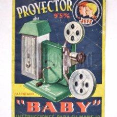 Catálogos publicitarios: INSTRUCCIONES PARA EL PROYECTOR DE CINE BABY 9,5 MM. JEFE. JOAQUÍN SALUDES. VALENCIA AÑOS 50. Lote 57756652
