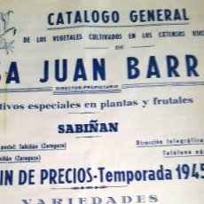 Catálogos publicitarios: CATALOGO DE VEGETALES VIVEROS JUAN BARRA ZARAGOZA, TEMPORADA 1945-46 2 HOJAS. 22X27. Lote 58093360