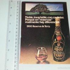 Catálogos publicitarios: ANTIGUA HOJA PUBLICITARIA - PUBLICIDAD DE BRANDY TERRY 1900 AÑOS 70 . Lote 58195253