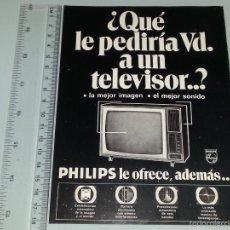 Catálogos publicitarios: ANTIGUA HOJA PUBLICITARIA PUBLICIDAD DE TELE TELEVISOR PHILIPS AÑOS 60 / 70. Lote 58208449