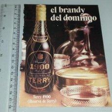 Catálogos publicitarios: ANTIGUA HOJA PUBLICITARIA PUBLICIDAD DE BRANDY 1900 TERRY AÑOS 60 / 70. Lote 58210987