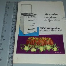 Catálogos publicitarios: ANTIGUA HOJA PUBLICITARIA / ANUNCIO DE COCINA DE GAS ORBEGOZO HOMANN AÑOS 60. Lote 58319927