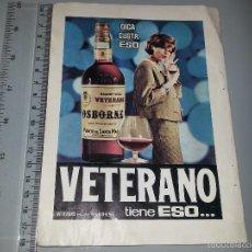 Catálogos publicitarios: ANTIGUA HOJA PUBLICITARIA ANUNCIO DE BRANDY VIEJO VETERANO OSBORNE Y PELICULAS PERUTZ AÑOS 50 / 60. Lote 58328493