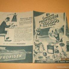 Catálogos publicitarios - Antiguo Folleto Diptico Concuso Publicidad de PROFIDEN con LILI VESPA MONTBLANC - Año 1957 - 58392511
