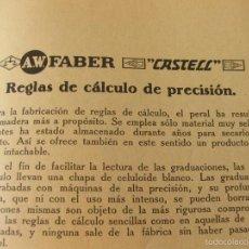 Catálogos publicitarios: INSTRUCCIONES Y CATALOGO DE PRODUCTOS A.W. FABER CASTELL - REGLAS DE CALCULO DE PRECISION Y. Lote 58573541