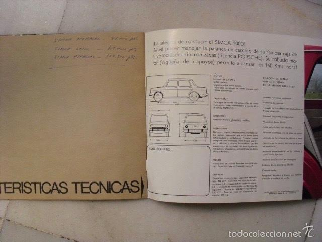 Catálogos publicitarios: CATÁLOGO PUBLICITARIO DE COCHE SIMCA 1000. AÑO 1966. ( 12 PÁGINAS ) - Foto 4 - 58674843