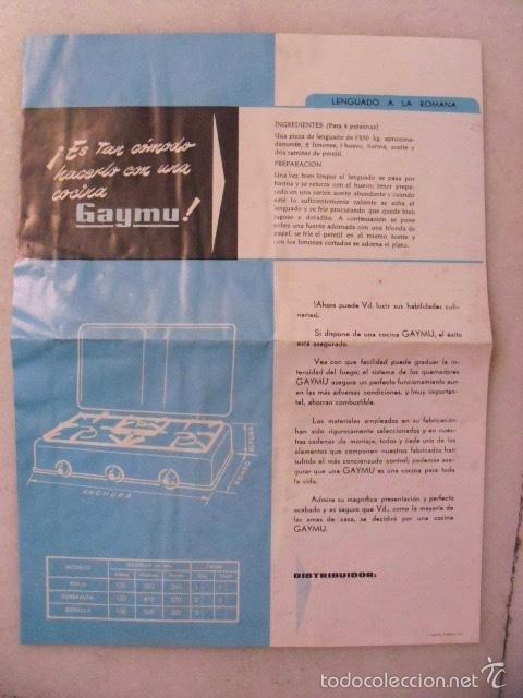 Catálogos publicitarios: HOJA PUBLICITARIA COCINA GAYMU. AÑOS 60. - Foto 2 - 58675273