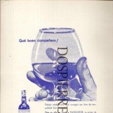 Catálogos publicitarios - RECORTE, PUBLICIDAD ,FUNDADOR- DOMECQ, REVERSO ,DUCADOS-TABACOS, 20X29, AÑOS 60 - 59588331