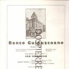 Catálogos publicitarios: RECORTE, PUBLICIDAD ,BANCO GUIPUZCOANO, 20X29, AÑOS 60. Lote 59612559