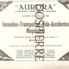 Catálogos publicitarios - RECORTE, PUBLICIDAD , SEGUROS AURORA-BILBAO, 20X13, AÑOS 60 - 59785976